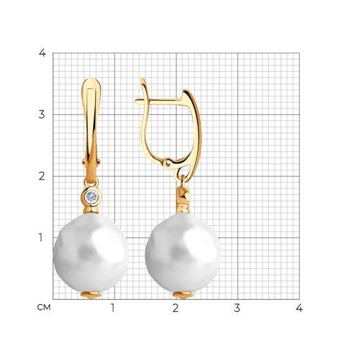 Серьги из золота с бриллиантами и жемчугом 8020089 SOKOLOV фото 2
