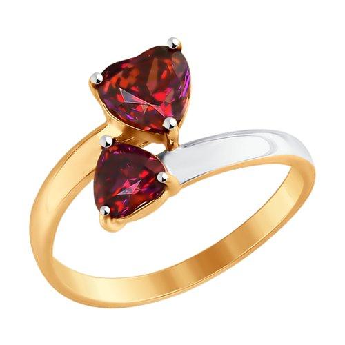 Кольцо из золота с красными Swarovski Zirconia (81010336) - фото