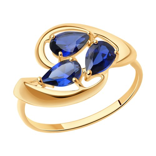 Кольцо из золота с синими корундами (синт.) (37714628) - фото
