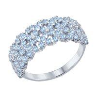 Кольцо из серебра с голубыми фианитами