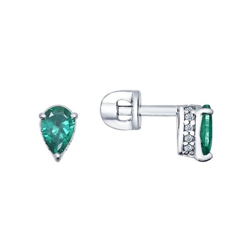 Фото - Серьги-пусеты SOKOLOV из серебра с зелеными фианитами ura jewelry серые серьги пусеты из серебра котики ura jewelry