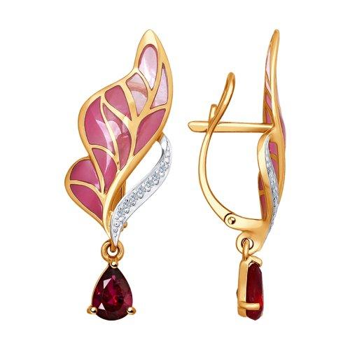 Серьги из золота с эмалью с бриллиантами и рубинами
