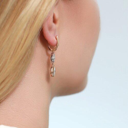 Серьги из комбинированного золота с бриллиантами (1021205) - фото №6