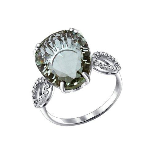 Кольцо из серебра с кварцем и фианитами (92010873) - фото