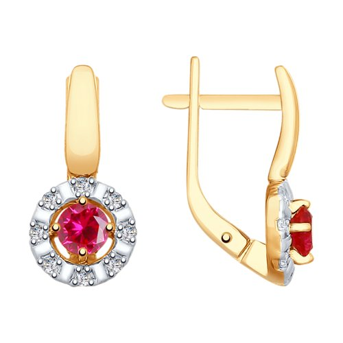 Серьги из золота с красными корунд (синт.) и фианитами (725785) - фото