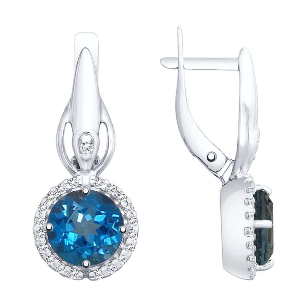 Серьги SOKOLOV из серебра с синими топазами и фианитами фото