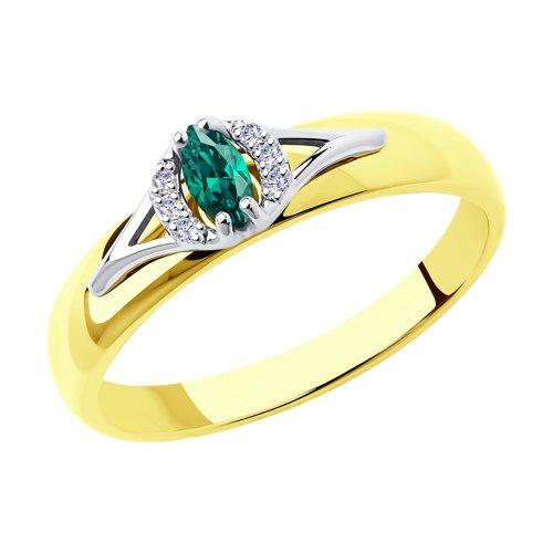 Кольцо из комбинированного золота с бриллиантами и изумрудом 3010520-2 SOKOLOV фото