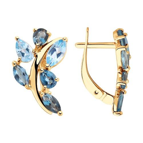 Серьги из золота с голубыми и синими топазами (725816) - фото