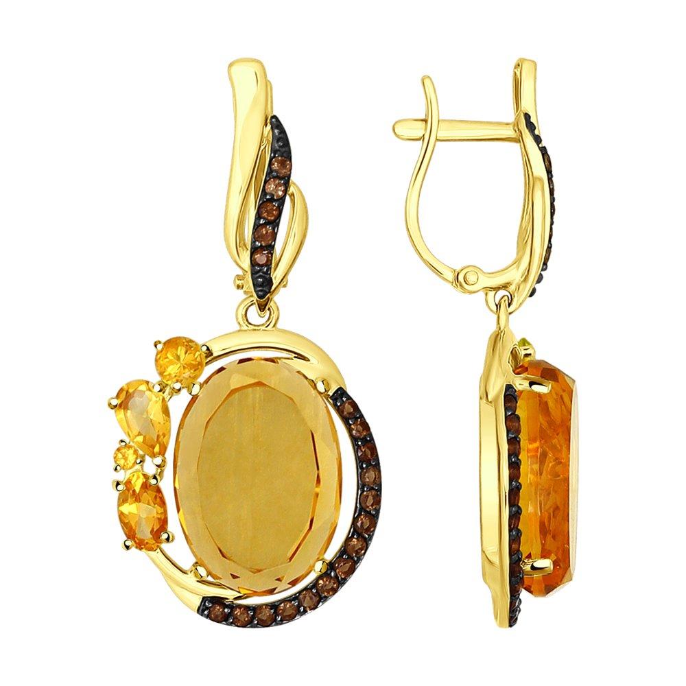 Серьги SOKOLOV из желтого золота с полудрагоценными вставками