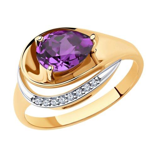 Кольцо из золота с аметистом и фианитами (715241) - фото