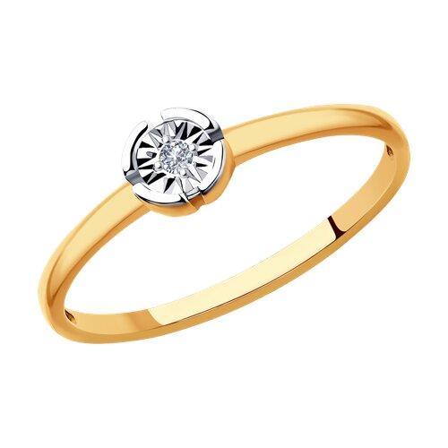 Кольцо из комбинированного золота с бриллиантом (1011857) - фото