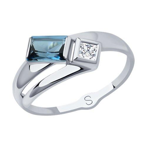 Кольцо из белого золота с синим топазом и Сваровски