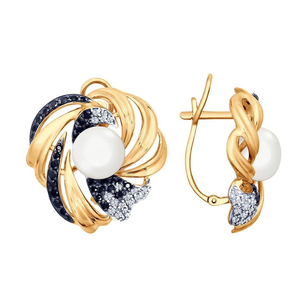 Серьги SOKOLOV из золота с жемчугом и бесцветными и чёрными фианитами золотое кольцо с чёрными и бесцветными фианитами sokolov