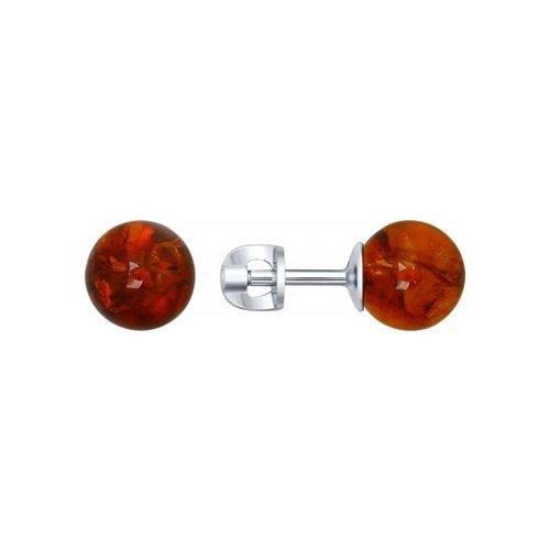 Серьги-пусеты из серебра с янтарём