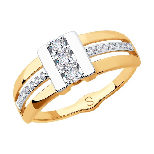 Кольцо из золота с фианитами (018254) - фото