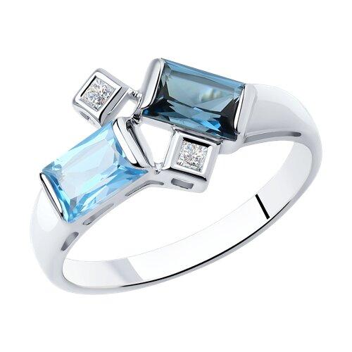 Кольцо из белого золота с голубым и синим топазами и Сваровски