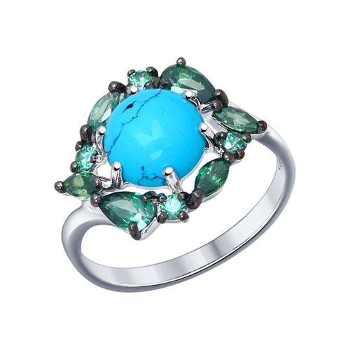 Кольцо из серебра с бирюзой (синт.) и зелеными фианитами (83010020) - фото