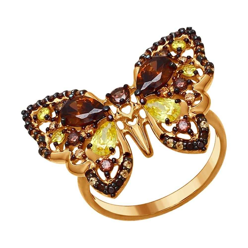 Кольцо «Бабочка» с фианитами SOKOLOV кольцо бабочка sokolov