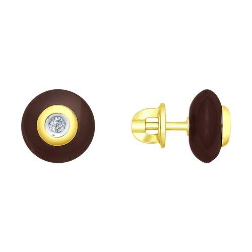 Серьги из желтого золота с бриллиантами и керамикой