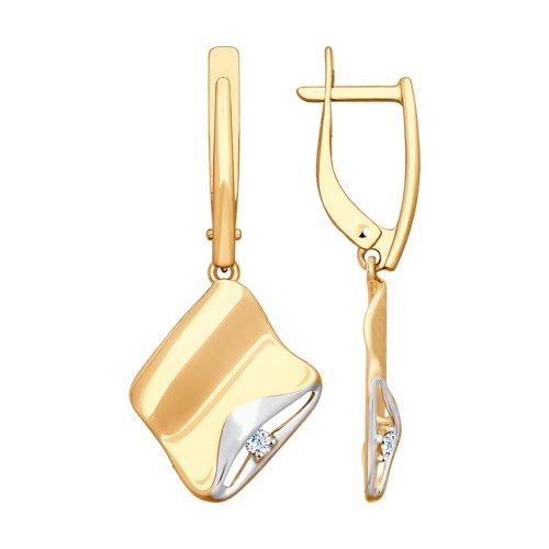 Серьги из золота с фианитами (027985) - фото