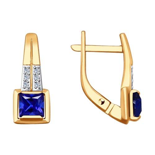 Серьги из золота с бриллиантами и синими корундами (синт.)