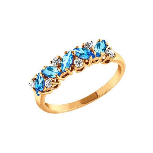 Золотое кольцо с дорожкой SOKOLOV из топазов и фианитов золотое кольцо ювелирное изделие k 11013