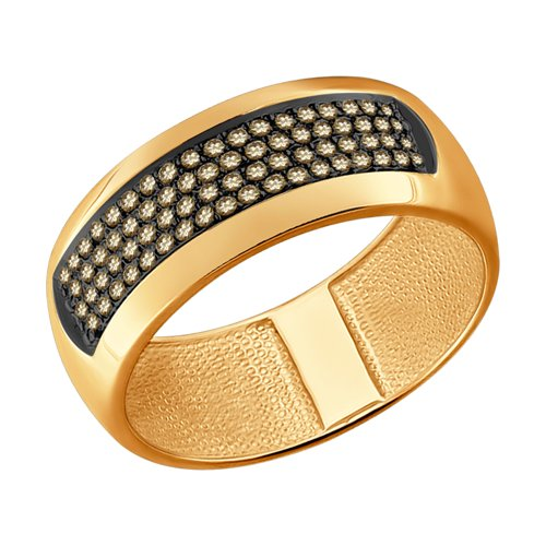 Кольцо из золота с коньячными бриллиантами (1011632) - фото