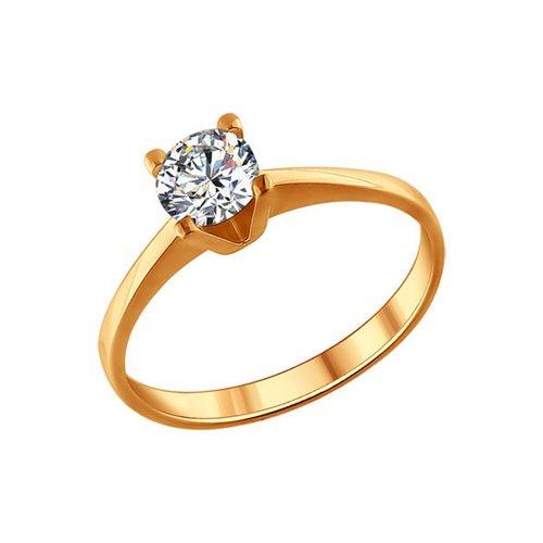 Позолоченное помолвочное кольцо с фианитом SOKOLOV
