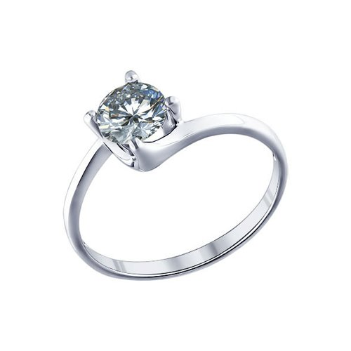 Серебряное помолвочное кольцо с крупным фианитом
