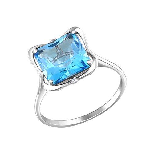 Белое кольцо с крупным голубым топазом SOKOLOV ажурное кольцо с крупным голубым топазом sokolov