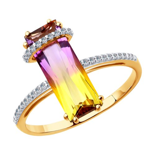 Золотое кольцо с ситаллом аметрин SOKOLOV фото