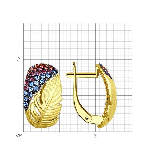 Серьги из желтого золота с голубыми, розовыми и сиреневыми фианитами (027445-2) - фото №2