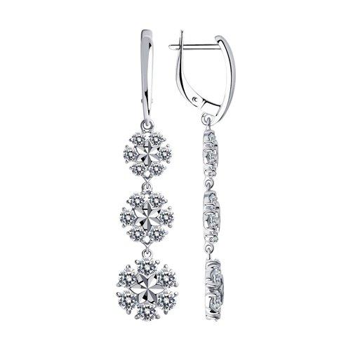 Серьги из серебра с алмазной гранью с фианитами (94023489) - фото