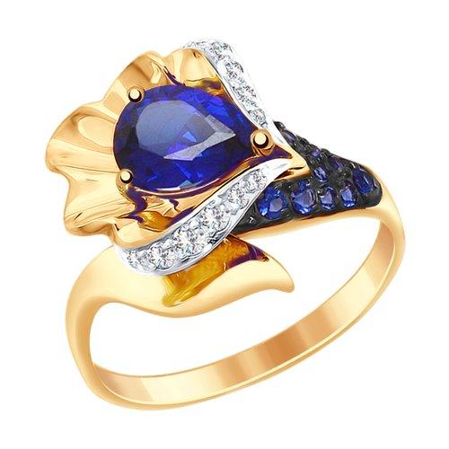 Кольцо из золота с синим корундом (синт.) и бесцветными и синими фианитами (714828) - фото