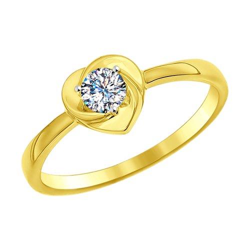Кольцо из желтого золота с фианитом (016998-2) - фото