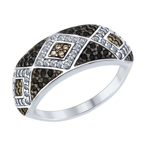 Кольцо из серебра с бесцветными, коричневыми и чёрными фианитами