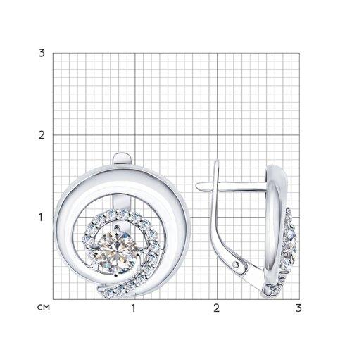 Серьги из серебра с фианитами (94022028) - фото №2