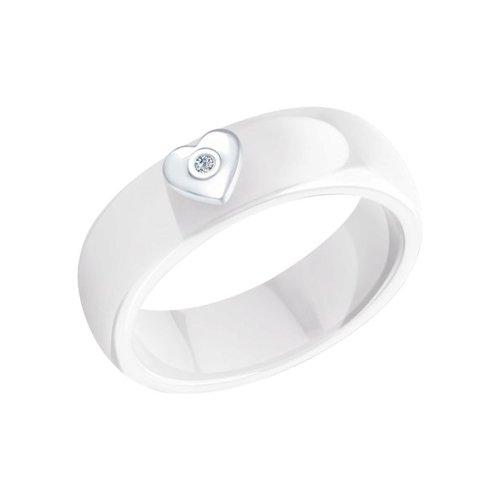 Кольцо SOKOLOV из керамики с серебром и бриллиантом «Love» кольцо love sokolov