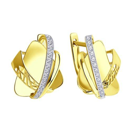 Серьги из желтого золота с фианитами 028818-2 SOKOLOV фото 3