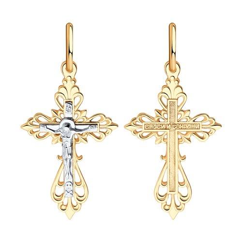 Крест из комбинированного золота (120079) - фото