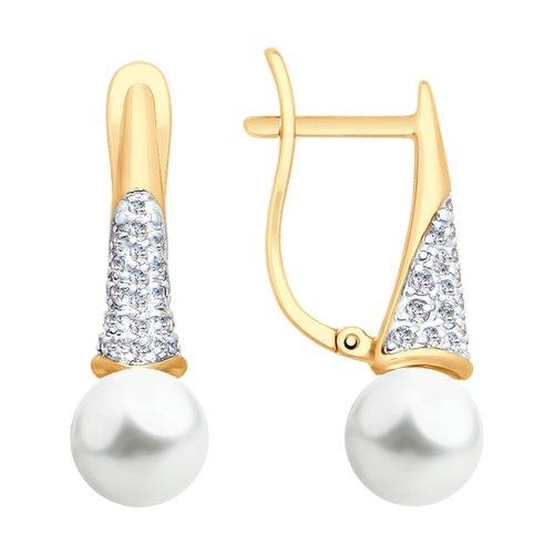 Серьги из золота с жемчугом и фианитами