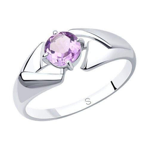 Кольцо из серебра с аметистом (92011603) - фото