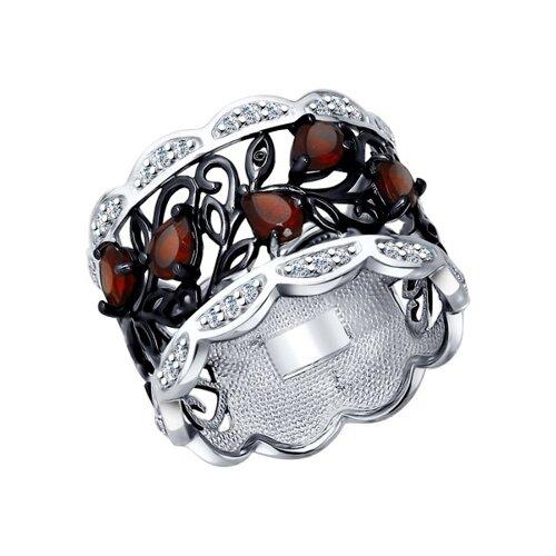 Кольцо из серебра с гранатами и фианитами