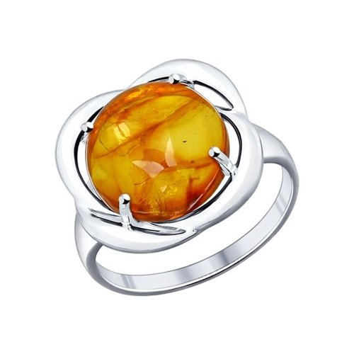 Кольцо из серебра с коричневым янтарём (пресс.)