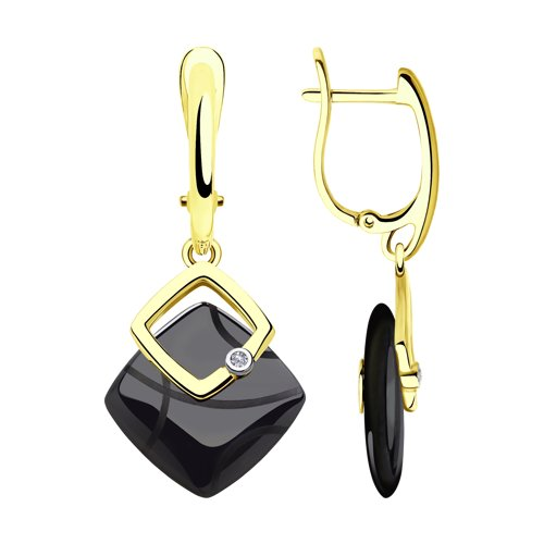 Серьги из желтого золота с бриллиантами и чёрными керамическими вставками (6025105-2) - фото