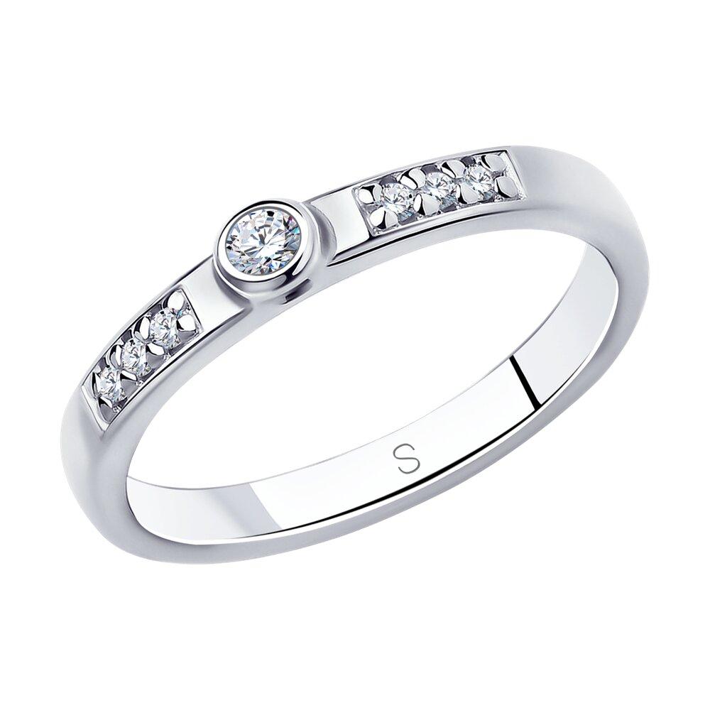 Помолвочное кольцо SOKOLOV из серебра с фианитами фото