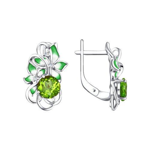 Серьги с эмалью и хризолитами SOKOLOV серьги серебряный цветок с эмалью и хризолитами sokolov