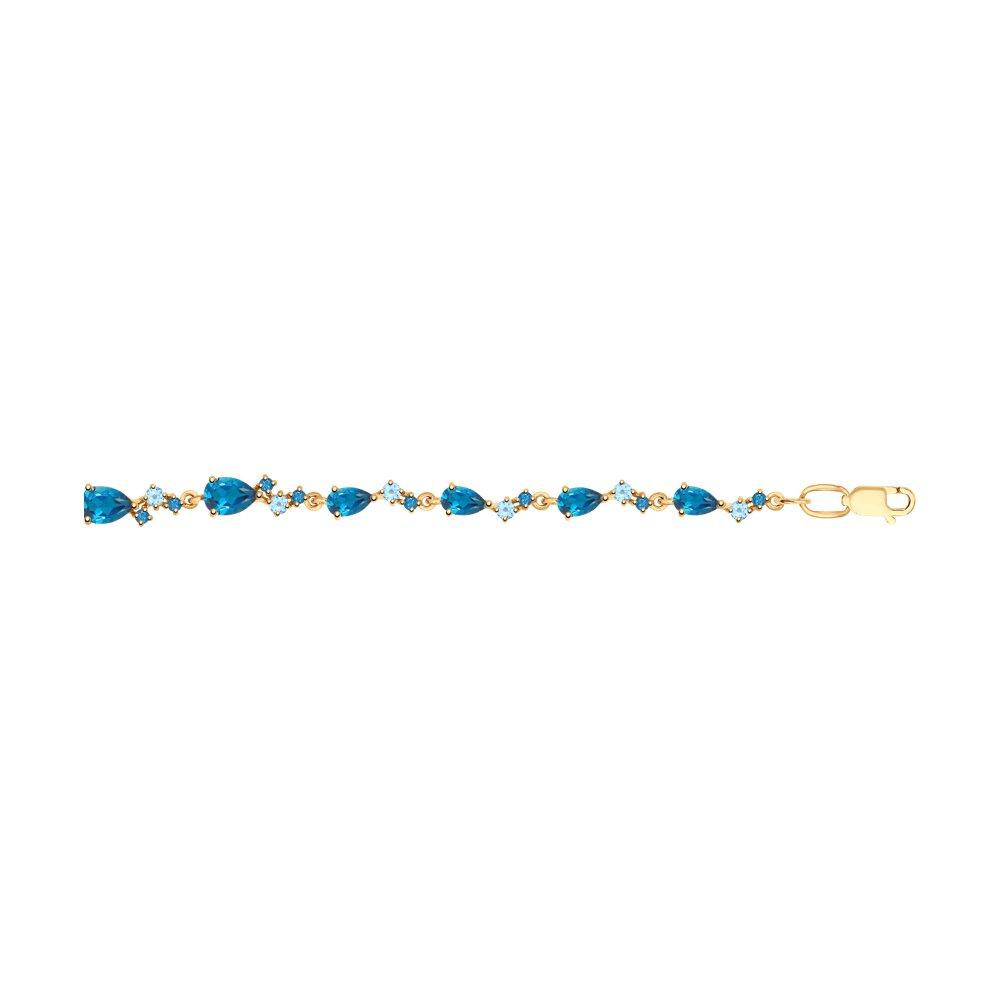 Браслет SOKOLOV из золота с голубыми и синими топазами фото