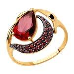Кольцо из золота с ситаллом и красными фианитами