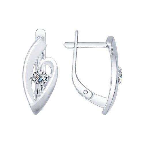 Серьги из серебра с фианитами (94022312) - фото